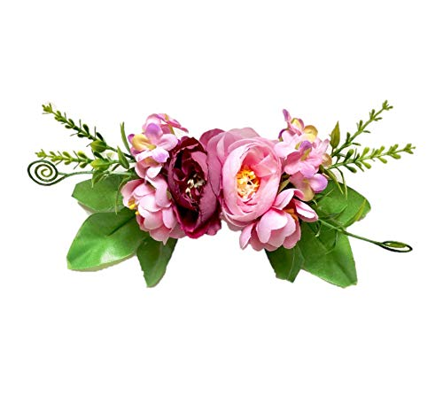 Floral and Crystal Brooch Pins, Corsages and Hair Accessories for Toddlers and Girls. (Mauve Pink Floral Pin)