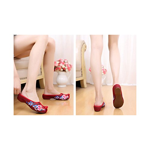 Chaussures Florales Chinoises Brodées Vintage Femme BAOTOU Ballerines Mary Jane Ballerine Flat Ballet Cotton Loafer Rouge