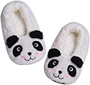Panda Bros Kid's Animal Slipper Socks, Cartoon Cozy Fleece Indoor Slipper, Fluzzy Warm Bedroom S