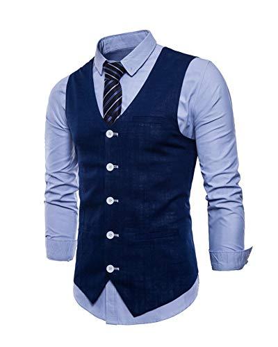 Marine Blouson Fit Business Costume Mariage Manches Slim Homme Gilet Sans Veste RqnzxwnvgP