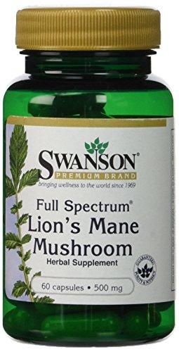 Swanson Premium Brand Full Spectrum Lion's Mane Mushroom 500mg (2 Bottles each of 60 Capsules)