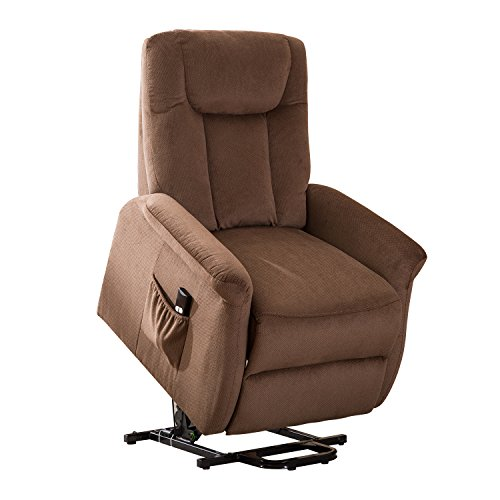 BONZY Lift Recliner Chair Power Lift Chair Gentle Motor Brushed Cover- Brushed Chocolate