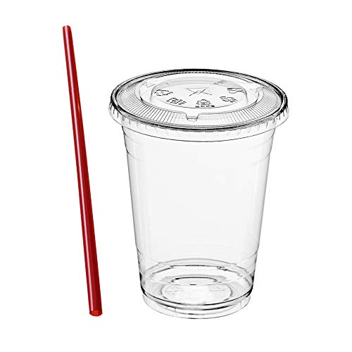 (50 Sets) 12 oz Clear Plastic Cups with Lids and FREE Straws, Disposable Crystal Clear PET Cups with Flat Straw Slot Lids for Cold Drinks, To Go Iced Coffee, Juice, Soda, Bubble Boba Tea, Smoothie