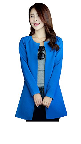 Long Slim Blansdi Parka Blazer Coat Outwear Tailleur Sans Trench Veste Bleu Femmes Peplum Revers Jacket RwwqrE