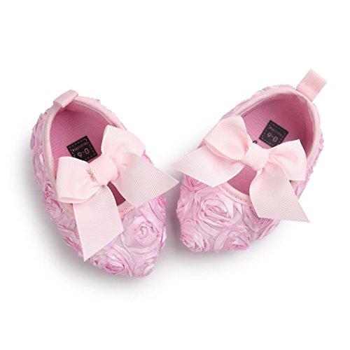 Tefamore princesa zapatos de bebé inferiores suaves resbaladiza moda primer paso del arco caliente del invierno Rosa