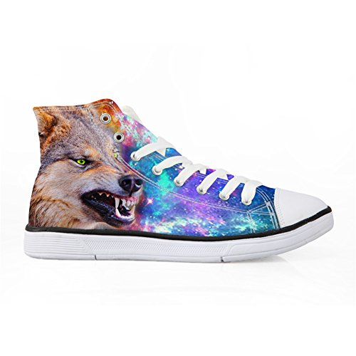 1 Shoes Wolf Galaxy Fashion High Sneakers Bigcardesigns Wolf Casual Canvas Top vx7q4Aw