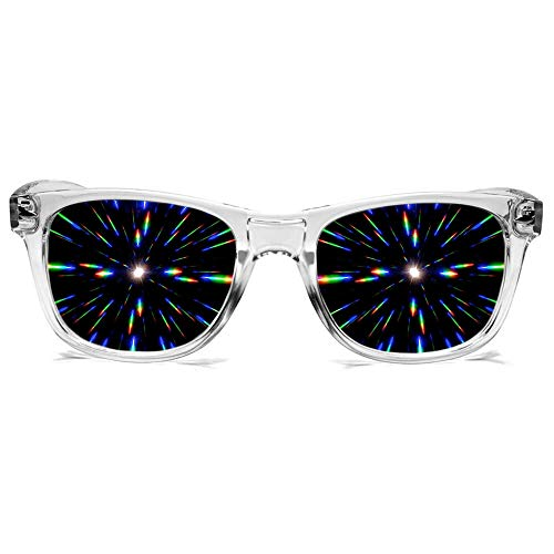 GloFX Ultimate Diffraction Firework Glasses - Clear Prism Light Diffracting -