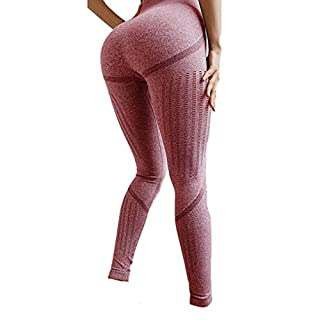 High Waist Active Slimming Leggings, Tummy Control Seamless Tights for Women, Sexy Yoga Pants for Gym, Workout, Running, Training (Large, Pink)