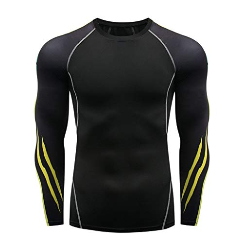 Men's T-Shirts Long Sleeve Sports Tops Crewneck Cool Dry Compression Baselayer Breathable Workout Tops Black