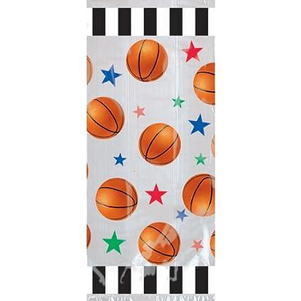 amazon com amscan basketball party treat bags 20 pkg toys games
