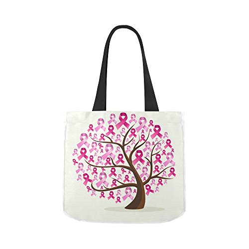 Breast Cancer Awareness Pink Ribbon Women Canvas Tote Shoulder Bag for Groceries, Shopping, School Books and Office Use Handbag (Breast Cancer Awareness Canvas Tote)