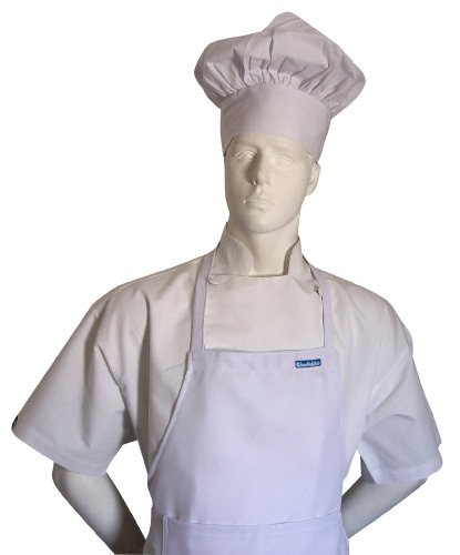 Chefskin Adult Chef White 2x XXL Chef Set (Apron+hat) Adjustable, Ultra Lite Fabric