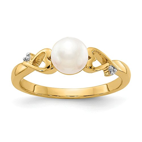Gold Ladies Pearl 14kt Ring (ICE CARATS 14kt Yellow Gold Diamond Freshwater Cultured Pearl Band Ring Size 7.00 Fine Jewelry Ideal Gifts For Women Gift Set From Heart)