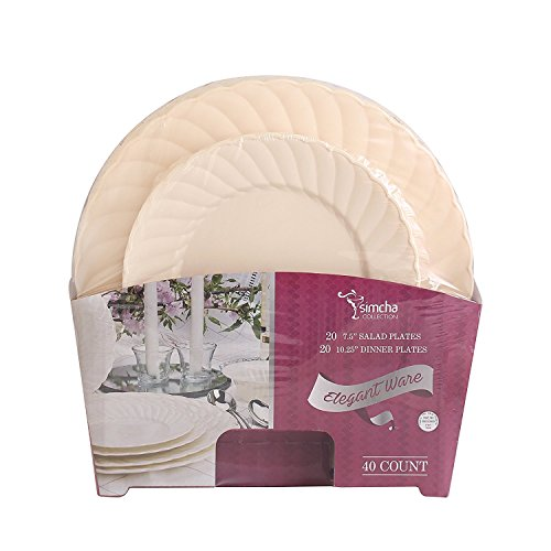 Disposable Plastic Plates Combo   Premium Quality Ivory Dinnerware Set With Swirl Border   Excellent for Weddings, Bridal Showers, Parties & More   7.5 Inches & 10.25 Inches 20 Pieces Each   40 Count