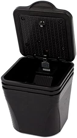 uxcell 無煙灰皿カップホルダー LEDライト 長方形の形状 自動車用 ブラック ブルー