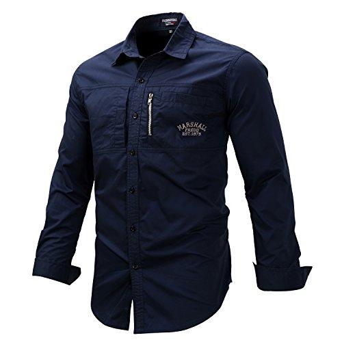 K-Men Men's Navy Blue Long Sleeve Cotton Travel Safari Passport Work Shirts XXL by K-Men (Image #1)