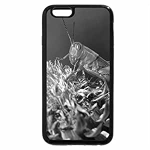 iPhone 6S Plus Case, iPhone 6 Plus Case (Black & White) - Green Grasshopper on flower