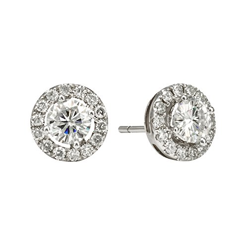 Forever Brilliant White Gold 5.0mm Round Moissanite Stud Earrings, 1.28cttw DEW By Charles & Colvard by Charles & Colvard