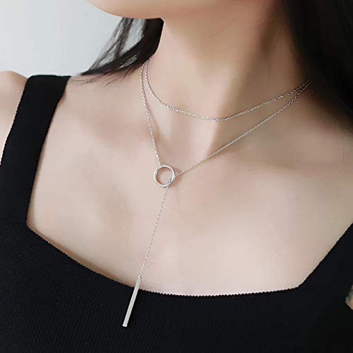 Best Seller Handmade Women's Glam Lady Silver-Tonel Y Chain Long Square Bar Ring Circle Lariat Pendant Necklace Plus Bonus Pearl Lariat Necklace and Jewelry Bag 3 For 1-24hr ()