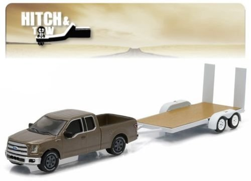 2015 FORD F-150 & FLATBED TRAILER Hitch & Tow Series 5 2015 Greenlight Collectibles Truck & Trailer Limited Edition 1:64 Scale Die-Cast Vehicle Set ... by Greenlight (Tow Flatbed Truck)