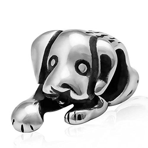 Puppy Dog Paw Charm 925 Sterling Silver Cute Animal Beads Pet Charms for DIY Charms (Butterfly Charm 4 Jewelry Bracelets)