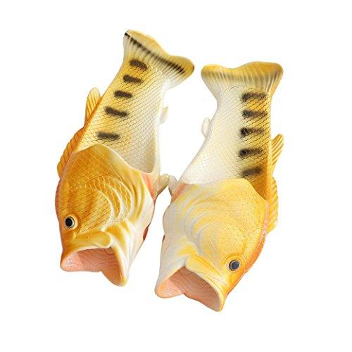 Aurorax Unisex Sandals, [ Fish Shower Non-Slip Slippers] Funny Beach Shoes Sandals (Yellow, (Check Ballerina Flats)