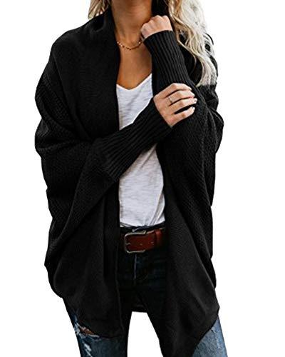 Noir Souris Chauve Gilet Manteau Tops Blouson Tricote Cardigan Outwear Manches Femmes Veste PR176