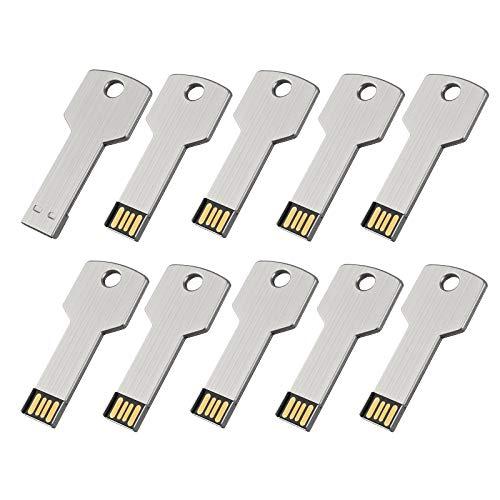 (KEXIN 10Pcs 1GB USB Flash Drive Metal Key Shape USB 2.0 Flash Drive Silver)