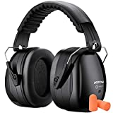 Mpow Noise Reduction Safety Ear Muff with Ear Plugs, Double Noise Reduction NRR 28dB Earmuff with NRR 32dB Earplugs, Professional Ear Protection for Shooting, Hunting, Mowing, Woodworking-Black