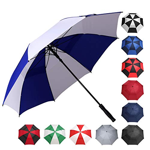BAGAIL Golf Umbrella 68/62/58 Inch Large Oversize Double Canopy Vented Windproof Waterproof Automatic Open Stick Umbrellas for Men and Women (Blue White, 68 inch)