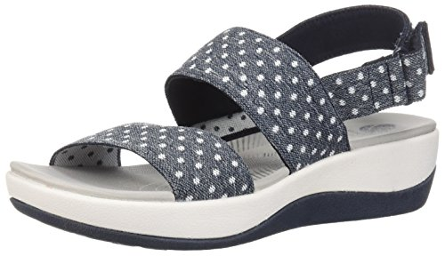 (CLARKS Women's Arla Jacory Sandal, Navy White dot Elastic, 8.5 W US)