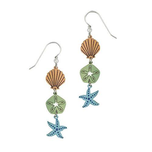 Sienna Sky Artisan 3-Part Starfish, Sand Dollar, Sea Shell Earrings with Gift Box