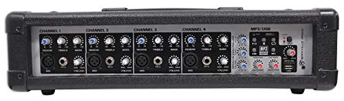 Rockville RPM45 2400w Powered 4 Channel Mixer/Amplifier w USB/EQ/Effects/Phantom