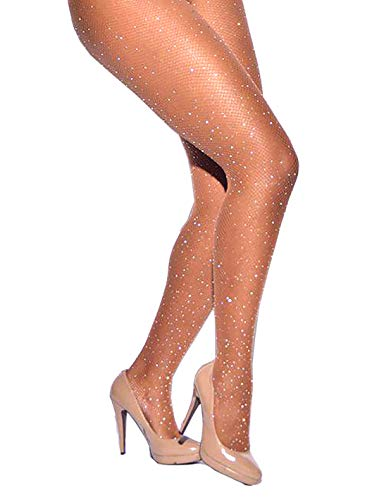 (Women's Fishnet Stockings Sparkle Glitter Rhinestone Pantyhose Tights One Size (One Size, Brown))