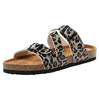 51eedf0ca47 Image Unavailable. Image not available for. Color  JJLIKER Women Gladiator  Leopard Buckle Strap Flat Slippers Outdoor Non-Slip Casual Sandals Low Heel
