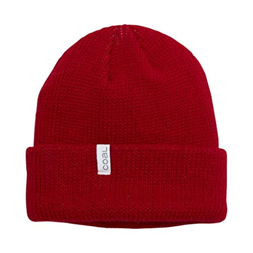 Coal The Frena Thick Knit Cuffed Slouch Beanie Hat, Red
