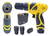 Cheston CH-CD1.2.DRILL Plastic Cordless Drill Screw Driver 10mm Keyless Chuck 12V with Batteries (Yellow)