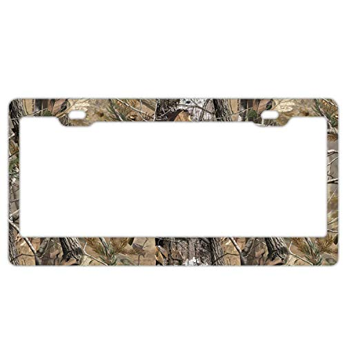 Custom Auto Frames Real Tree Camo Black License Plate Frame Cover, Aluminum Metal Car Tag Holder for US Front or Back License Tag