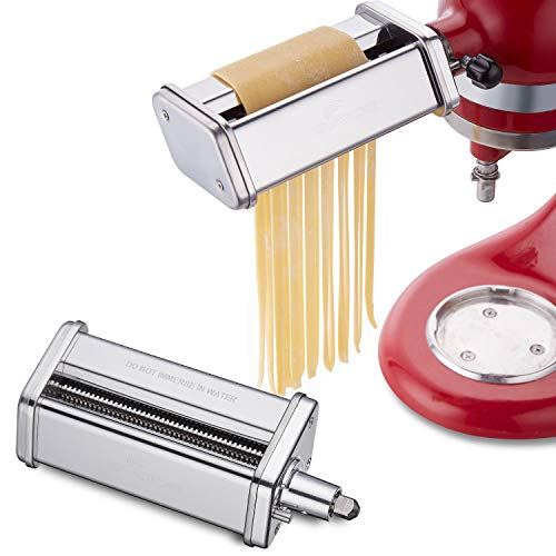 Gvode Pasta Cutter Attachment Set for KitchenAid Stand Mixer Includes Fettuccine Spaghetti Cutter Accessory as Noodle Maker by Gvode