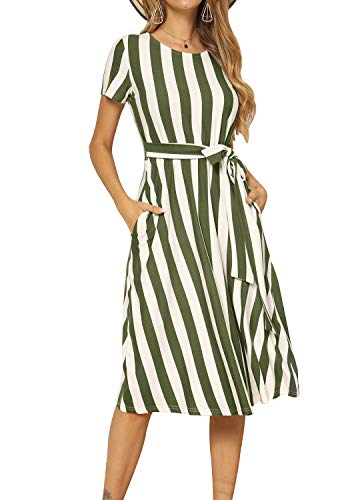 Green Summer Dress - levaca Women's Summer Short Sleeve Casual Pockets Midi Dress with Belt Army Green M