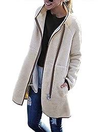 Hotmiss Women Long Sleeve Turtleneck Zip up Faux Shearling Warm Cardigan Jacket