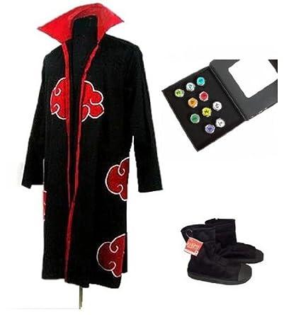 Sunkee Naruto Cosplay Akatsuki Ninja Traje - Capa Tamaño M ...