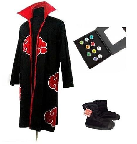 Sunkee Naruto Cosplay Akatsuki Ninja Traje - Capa Tamaño XL ...