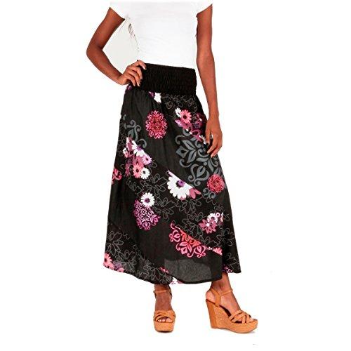 LE ORANGE MOON Jupe Longue Femme imprime - Noir/Rose - Coton - S/M