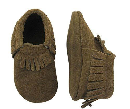 Unique Baby Unisex Quality Suede Moccasins(M 5 inches) Dark Brown