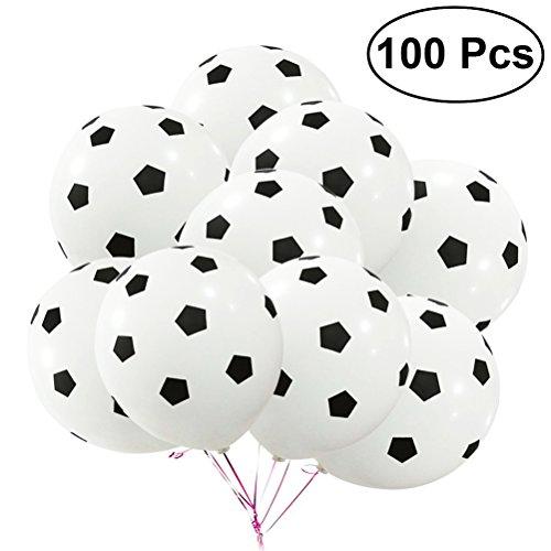 Football Latex Balloons - TOYMYTOY 100Pcs 12Inch Party Football Balloon Soccer Latex Rubber Balloons for Decoration 3.5g (Football Pattern)