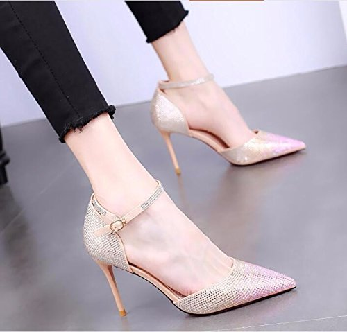 Water Shoe Side Heel KPHY Air Thin Pink Pointed Fashion Women'S Summer Buckle Single High Shoes Sharp One Shoes Sexy 9Cm Heel Drill Word In PvBPa