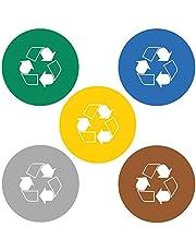 Haberdashery Online 5 Etiquetas Adhesivas Reciclaje Basura. Pegatinas para la gestión de residuos. Cada una de 14 cms diámetro. Modelo XXL