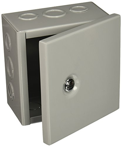 """BUD Industries JBH-4945-KO Steel NEMA 1 Sheet Metal Box with Knockout and Hinged Cover, 6"""" Width x 6"""" Height x 3-1/2"""" Depth, Gray Finish"""