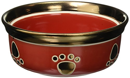 Ethical Pet Dog Stoneware - Ethical Stoneware Dish 6888 Ritz Copper Rim Dog Dish Red, 7 Inch